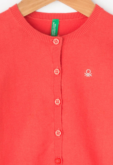 United Colors of Benetton Cardigan din tricot fin cu logo din strasuri Fete