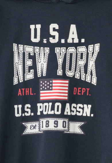 U.S. Polo Assn. Hanorac cu imprimeu text USA New York Baieti